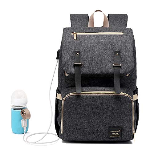 Dreamsoule Multi-Function Diaper Bag Backpack, Large CapacityMommy Backpack Waterproof Maternity Travel Nappy Bag with USB Charging Port and USB Bottle Heating Sleeve for Baby Care (Dark Grey) ()