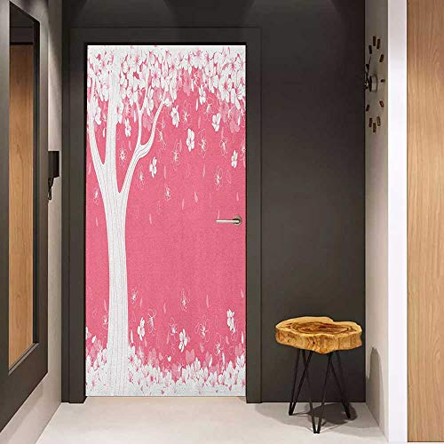 Onefzc Pantry Sticker for Door Nature Blossom of Sakura Tree Silhouette Springtime Inspired Seasonal Nature Image Print Sticker Removable Door Decal W30 x H80 Pink White