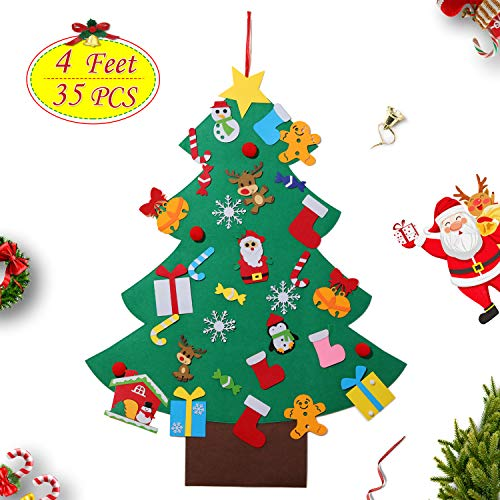 4ft Felt Christmas Tree Set DIY 3D Wall Hanging Xmas Trees Detachable Pendant 35Pcs Ornaments Home Office Classroom Door Decor Kids Gift (Xmas Tree Nice)