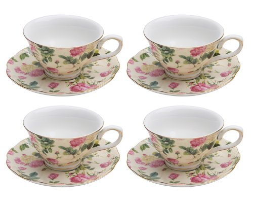 Gracie China Rose Chintz Porcelain 7-Ounce Tea Cup and Saucer Set of 4, Pink Rose Bouquet