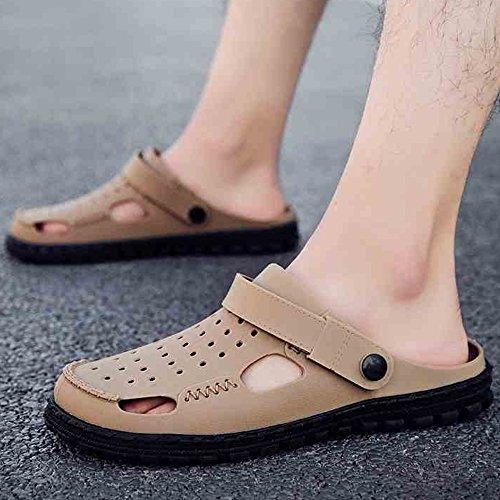 XIAOLIN Zapatillas Hombre Zapatillas de verano Zapatos de hombres Agujeros Hombres Zapatos de playa de doble uso Zapatillas medias de hombres Zapatos de vadeo perezoso (Tamaño opcional) ( Color : 01 , 04
