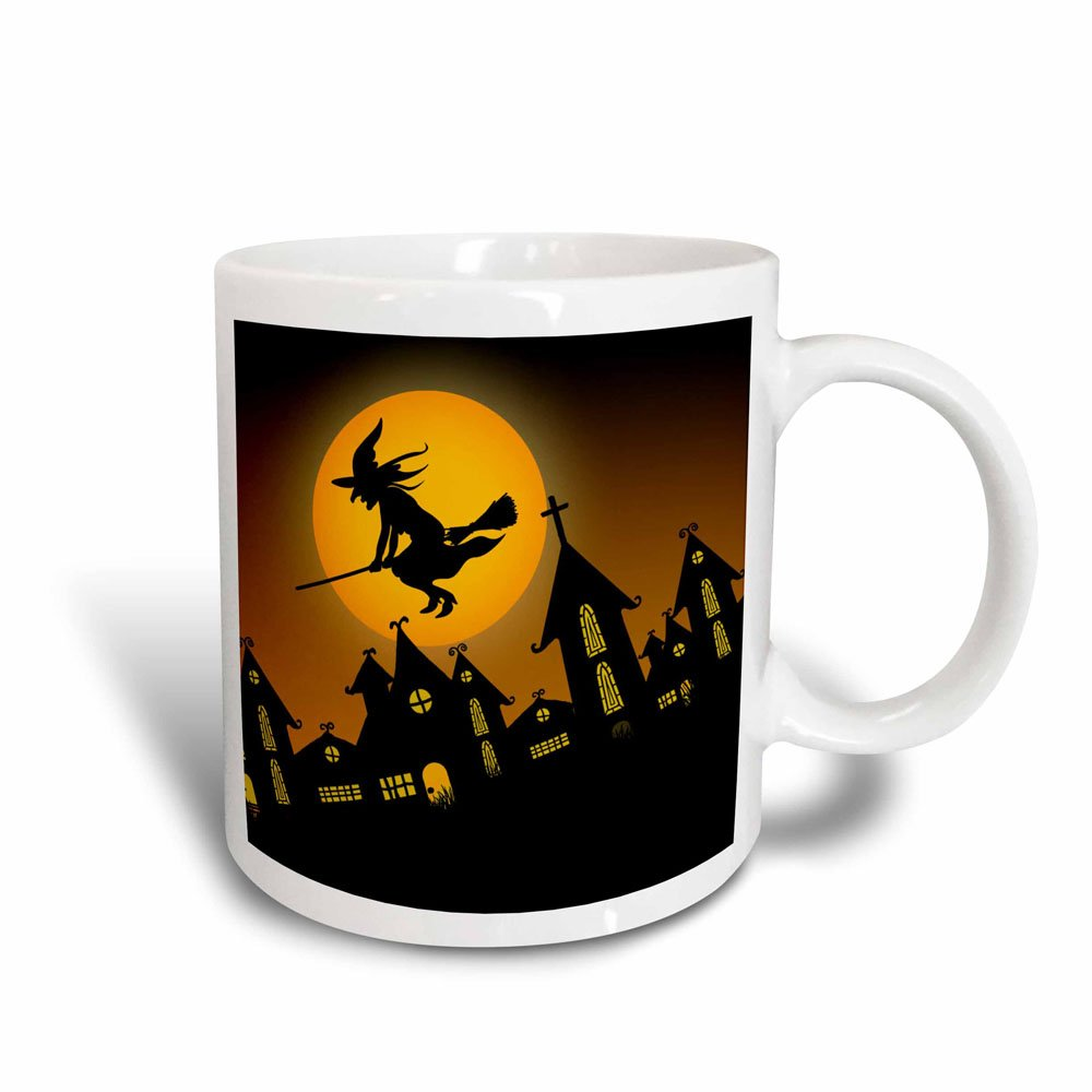 3dRose 172236_3 Spooky Halloween Town With Flying Witch Magic Transforming Mug 11 oz