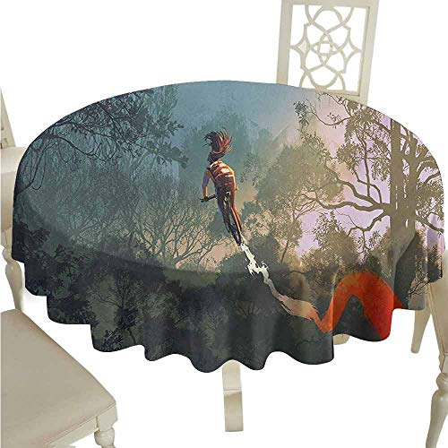 duommhome Fantasy Durable Tablecloth Cyclist Riding Bike with Track in Air Foggy Park Artsy Abstract Extreme Sports Easy Care D35 Multicolor