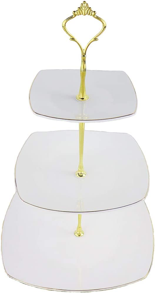 3-Tier Porcelain Embossed Cupcake Stand - Pure White Rimmed with Gold Dessert Cake Stand - Pastry Serving Tray Platter for Tea Party, Wedding and Birthday