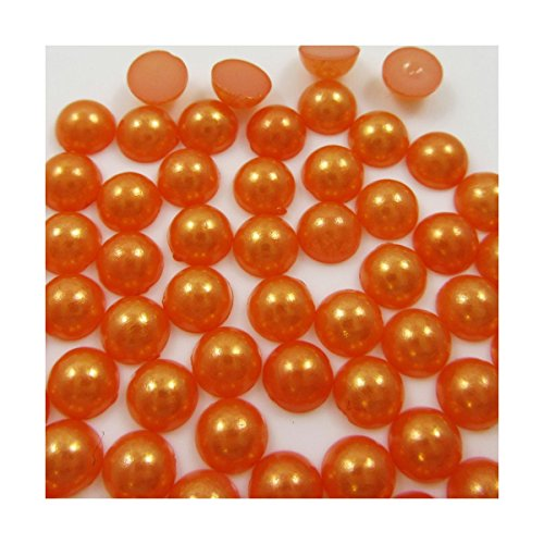 4mm 5mm 6mm FLATBACK HALF ROUND GLUE ON FAUX PEARL STONES GEMS 14 COLOURS (4mm (1000 Beads), Orange C530)