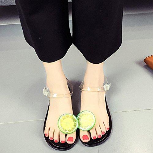 Sandalias de verano, Internet Sandalias de verano de las mujeres zapatos sandalias de baja sandalias sandalias (40, Plata) Negro A