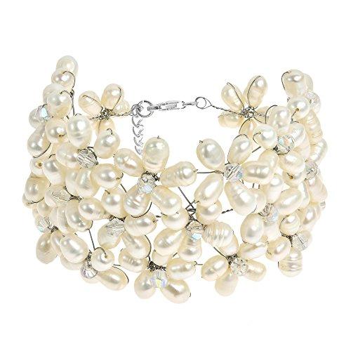 - AeraVida Classy Cultured Freshwater White Pearl & Fashion Crystal Flower Link Bracelet