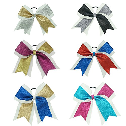 CN 7 Inch Big Shimmer Ribbon Glitter Cheer Bows Sparkly Hair Bows with Ponytail Holder For Cheerleading Girls