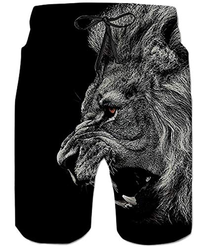 80s Adult Plus Size Animal Black Lion Boardshorts Men's Swim Trunk Quick Dry Side Pockets Casual Surf Yoga Water Jogging Training Lightweight Clothing ()
