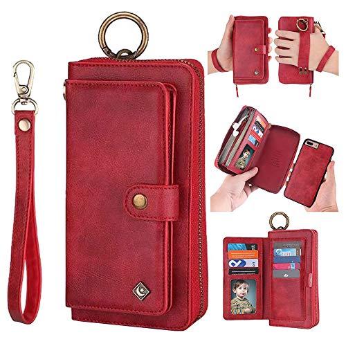 JAZ iPhone 8 Wallet Case / iPhone 7 Wallet Case - Multi-Function Wristlets Zipper Purse Detachable Magnetic 14 Card Slots Money Pocket Clutch Leather Wallet Case for Apple iPhone 8 / 7 / 6S / 6 Red