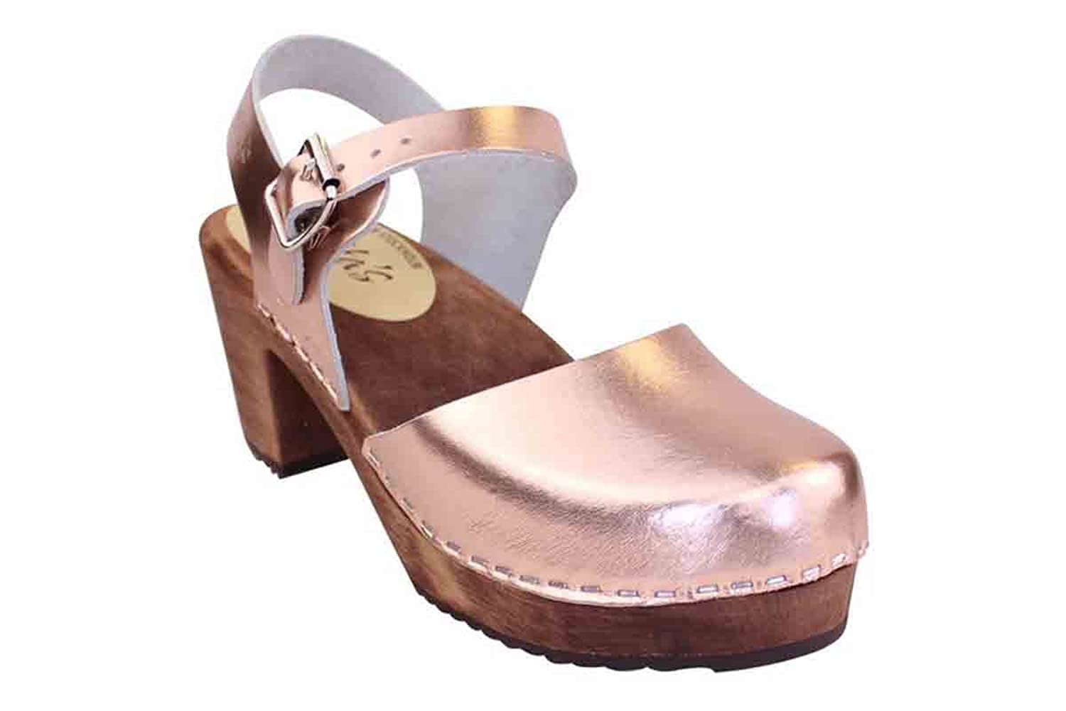 Lotta From Stockholm Swedish Clogs Highwood In Rose Gold With Brown Sole