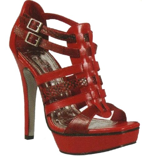 Anne Michelle Buckled Straps Ankle Pumps Assassin-05 Red or Camel Red CRJO4K