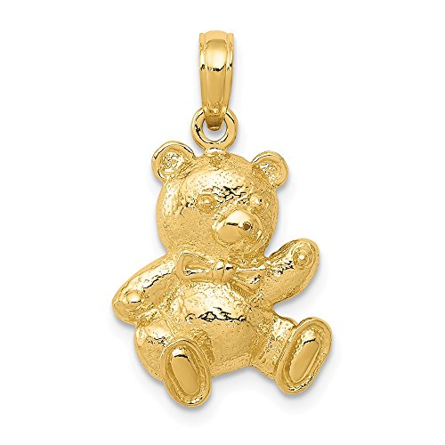 Real 14kt Yellow Gold Teddy Bear Pendant