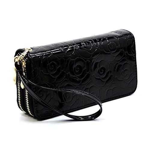 black Printed Around Rose Wallet 106 Floral Wristlet Flower Clutch Elphis Zip OAvPqw