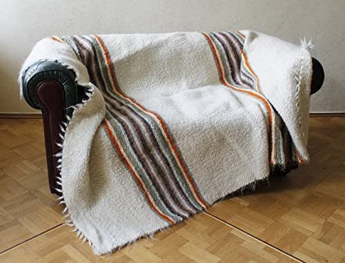 Wool Queen Blanket White for Couch Stripe Heavy Throw Large Warm Bedspread Cover Bed Blanket White