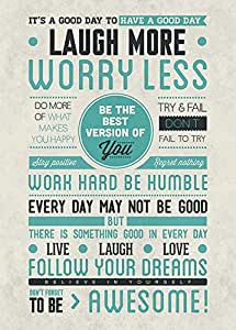 Laugh More Be Awesome Motivational 24x36 Poster Art Print