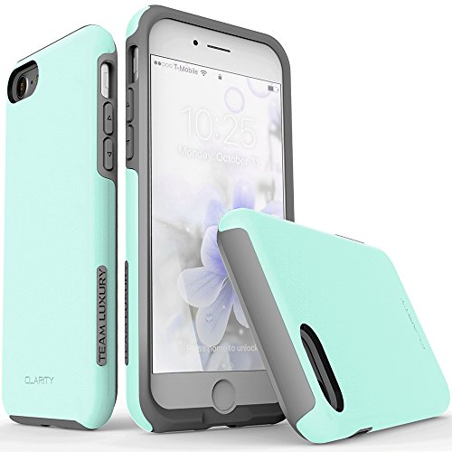 e 8 Case, TEAM LUXURY [Clarity Series] UPDATED G-II Turquoise Ultra Defender TPU + PC [Shock Absorbent] Premium Protective Case -for Apple iPhone 7 & 8 (Soft Mint/ Gray) (Style Silicone Rubber Case)