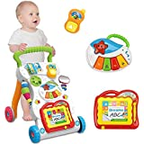 Sit-to-Stand Learning Walker Tenlso Baby Walking Toys,Push Pull Toys - Adjust Speed, Non-Slip, Prevention O-Leg With Music,Mirror,Book - 0-3 Year Old
