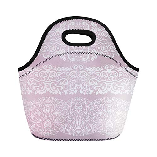 Semtomn Neoprene Lunch Tote Bag Pink Abstract of White Laces Border Anniversary Birthday Classic Reusable Cooler Bags Insulated Thermal Picnic Handbag for Travel,School,Outdoors,Work