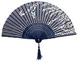 BIGOCT 265D 265D2 Japanese Handheld Blue Butterfly Folding Fan Silk Handheld Folding Fan .,Dark Blue,One Size