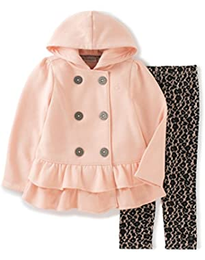 Baby Girls' Hooded Ruffled Jacket with Leggings Set