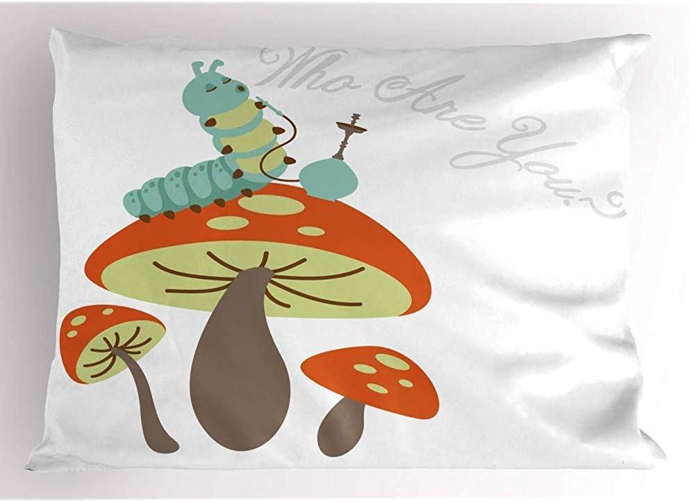 Tommy Warren Fumar cachimba Caterpillar Sentado en un Hongo y Preguntar quién es Usted Funda de Almohada Impresa