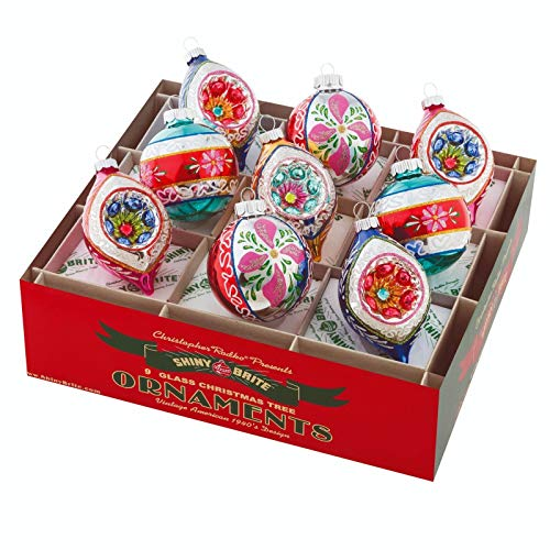 Shiny Brite Christmas Confetti 9 Count Decorated Rounds & Tulips Ornaments