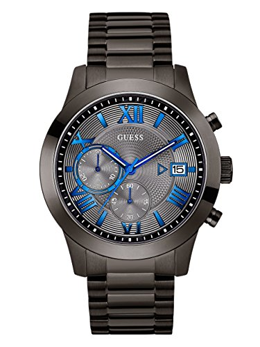 GUESS Men's Stainless Steel Multi-Function Casual Bracelet Watch, Color: Gunmetal (Model: - Gunmetal Color Blue