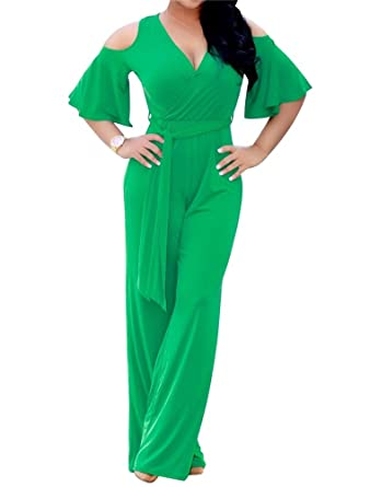 f572df57806c CutieLove Women s Sexy Wrap Deep V Neck Cold Shoulder Ruffle Sleeve Wide  Leg Jumpsuit with Belt