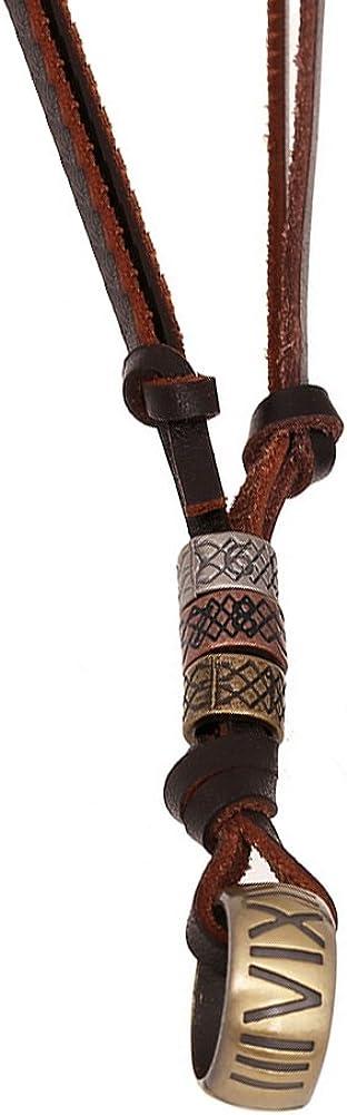 AIUIN - Collar de aleación de metal, aleación, de piel, colgante de cuerda, anillo dorado, ajustable, 65-70 cm, para hombre y mujer