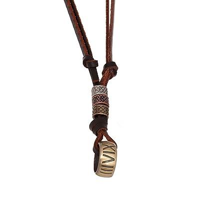 a2173326a14 AIUIN cuir véritable et alliage Pendentif Collier Chaîne Golden Bague  réglable pour 65–70 cm