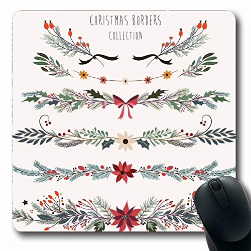 (VivYES Gaming Mousepad Custom Ribbon Flourish Christmas Borders Floral Branches Holidays Garland Holly Classic Poinsettia Design Oblong Shape 7.9 x 9.5 Inches Rectangle Non-Slip Rubber Mouse Pads)