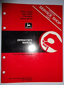 john deere 1800 2300 3200 portable generator operators owners manual rh amazon com John Deere Electric Generators John Deere 5000 Watt Generator