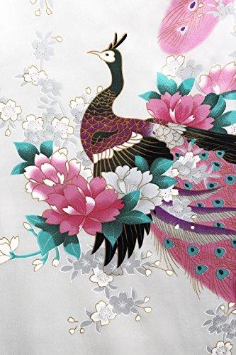 ArtiDeco Vestido Kimono Pijama de Seda Novia Kimono de Seda Ropa de dormir de Satén Estampado Pavo Real Blanco