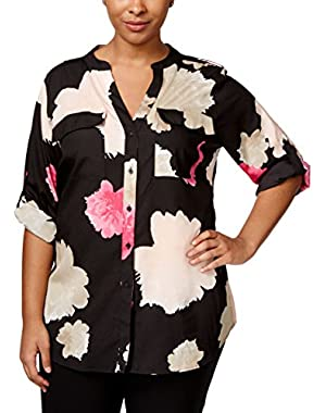 Calvin Klein Plus Size Floral-Print Blouse