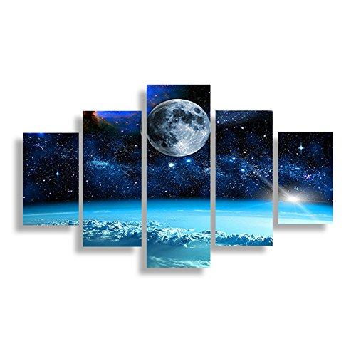 SwmArt 5 Panel Modern Printed Space Universe Landscape Paintings Canvas Picture Cuadros Earth Painting For Living Room (no frame) Swm33 50 inch x30 inch