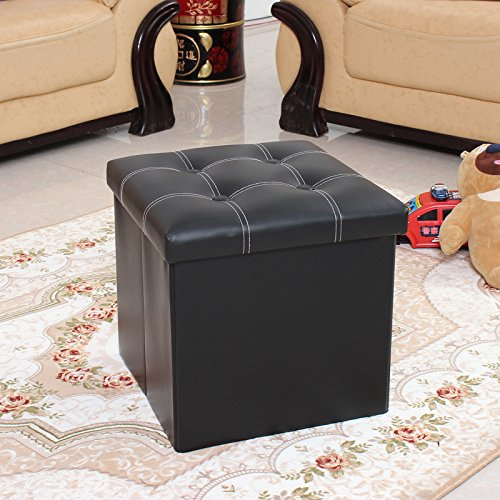 UArtlines Folding Storage Ottoman Leather