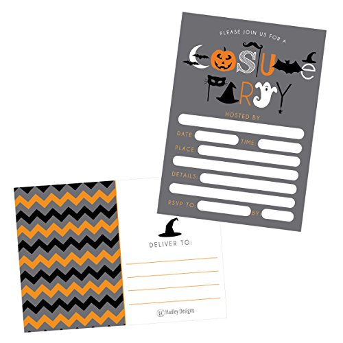 (50 Halloween Costume Party Invitations, Kids Or Adults Birthday Halloween Party Invites, Monster Trunk Or Treat Or Trick Or Treat Party Invitation, Pumpkin Invite)