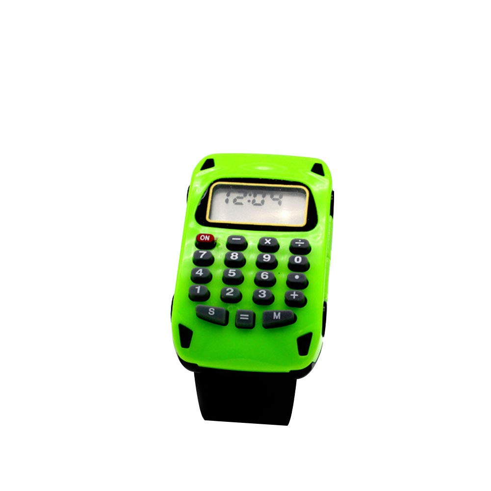 Multifunzionale a forma di auto Mini calcolatrice data Display digitale per bambini orologio da polso Green Yanbirdfx