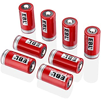 EBL 16340 Li-ion Rechargeable Batteries CR123A 750mAh 3.7V for LED Flashlight Torch, 8 Packs