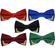 5 Pcs Heymei Men's/Boy's Ajustable Pre-Tied Formal Necktie Bow Tie Jacquard Dots B4 (5 Colors Black Red Blue Green Claret-red)