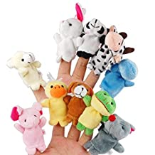 Itian 10pcs Different Cartoon Animal Finger Puppets Soft Velvet Dolls Props Toys