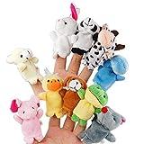 Itian 10pcs Verschiedene Karikatur-Tier Fingerpuppen Weicher Samt Puppen Spielzeug Props
