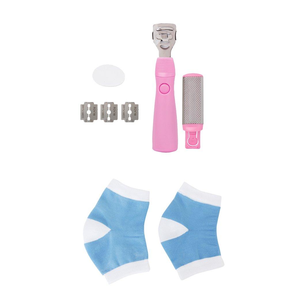 Footful Set Gel Heel Cracked Skin Open Toe Sock Foot Hard Skin Scraper Pedicure Kit Generic