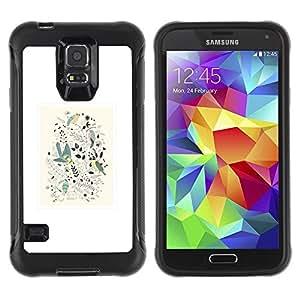 Paccase / Suave TPU GEL Caso Carcasa de Protección Funda para - Minimalist Framed Floral Pattern White - Samsung Galaxy S5 SM-G900