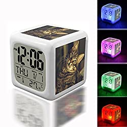 Digital Alarm Thermometer Night Glowing Cube 7 Colors Clock LED Customize the pattern 273.Tabby Cat, Pet, Animals, Kitty, Cat