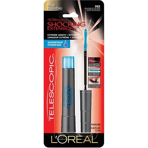 L'Oreal Paris Telescopic Shocking Extensions Waterproof Mascara, Blackest Black, 0.24 Fluid Ounce (Pack of 5) by L'Oreal Paris