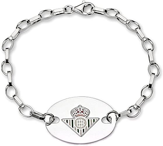 Pulsera escudo Real Betis plata de ley chapa oval [8629] - Modelo: 50-063: Amazon.es: Joyería