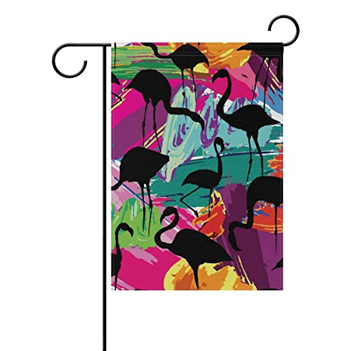 Cvhtr3m 12 x 18 Inch Garden Flag, Seasonal Garden Banner Double Sided Printed Flamingo Silhouette Painting Brash Seamless Backgr Flag,Decorative for Home Outdoor Yard Garden
