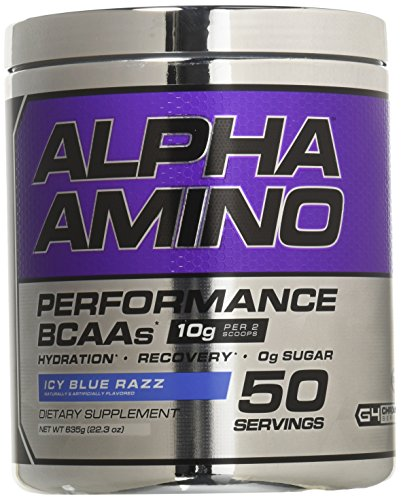 Cellucor Alpha Amino Performance BCAA Powder, BCAAs & Essential Amino Acids for Recovery, Icy Blue Razz, 50 Servings